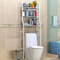 Стеллаж-стойка для туалета (металл, белый, TM-101) этажерка-органайзер над унитазом (полки в туалет)
