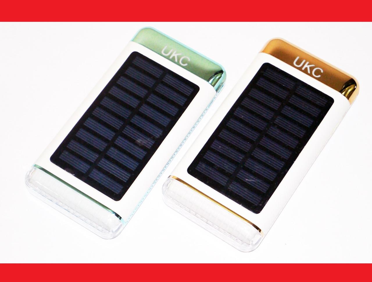 Power Bank UKC 15000mAh с солнечной батареей 3xUSB LED фонарь Глянец
