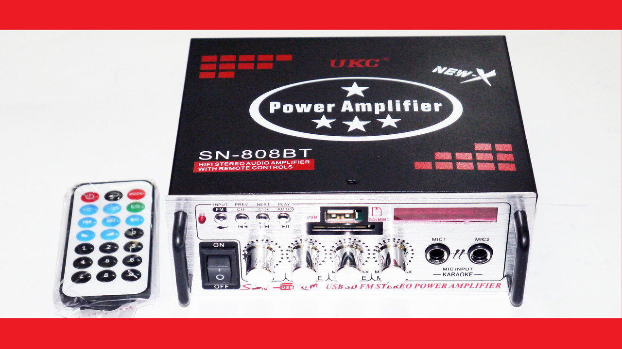 Усилитель звука Xplod UKC SN-808BT USB+SD+AUX+Bluetooth+Караоке