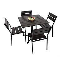 """Комплект меблів для дачі """"Ріо"""" стіл (80*80) + 4 стільця Венге, фото 1"""