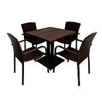 """Комплект меблів для дачі """"Тетра Люкс"""" стіл (80*80) + 2 стільця Венге"""