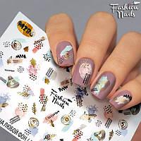 Наклейки для ногтей абстракция геометрия - Слайдер-дизайн наклейки на ногти для маникюра водные Fashion Nails
