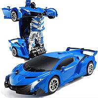 Машинка Трансформер Lamborghini Robot Car Size 18 Синяя