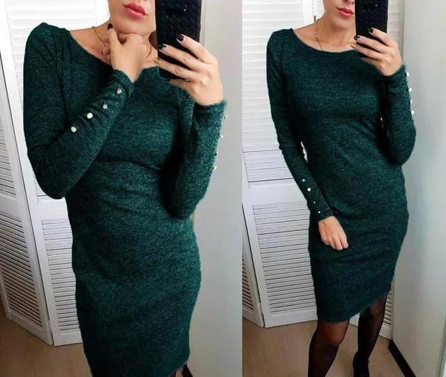 Платье ангоровое с пугавицами