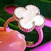 Серебряное кольцо Клевер с перламутром - Брендовое кольцо Клевер серебро с перламутром, фото 4