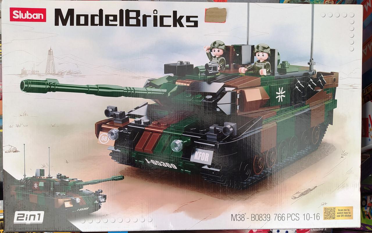 Конструктор Sluban 0839 Боевой танк 2в1 Leopard 2A5 MBT 766 деталей