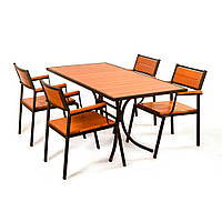 "Комплект мебели для сада ""Бристоль"" стол (160*80) + 4 стула + лавка Тик, фото 1"