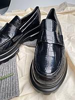 Женские кожаные лоферы черные