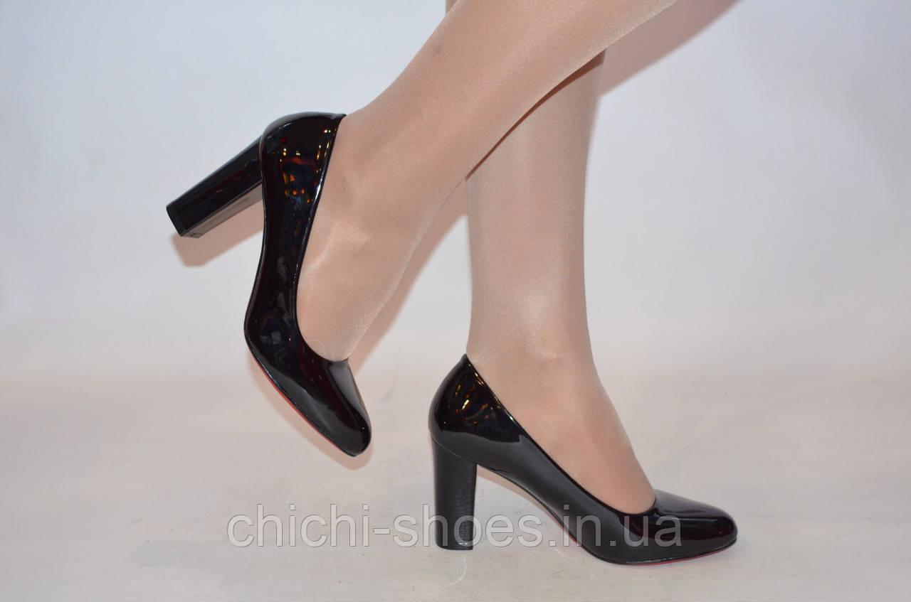 Туфли женские Meko Melo 1609 чёрные кожа-лак каблук размеры 37,38
