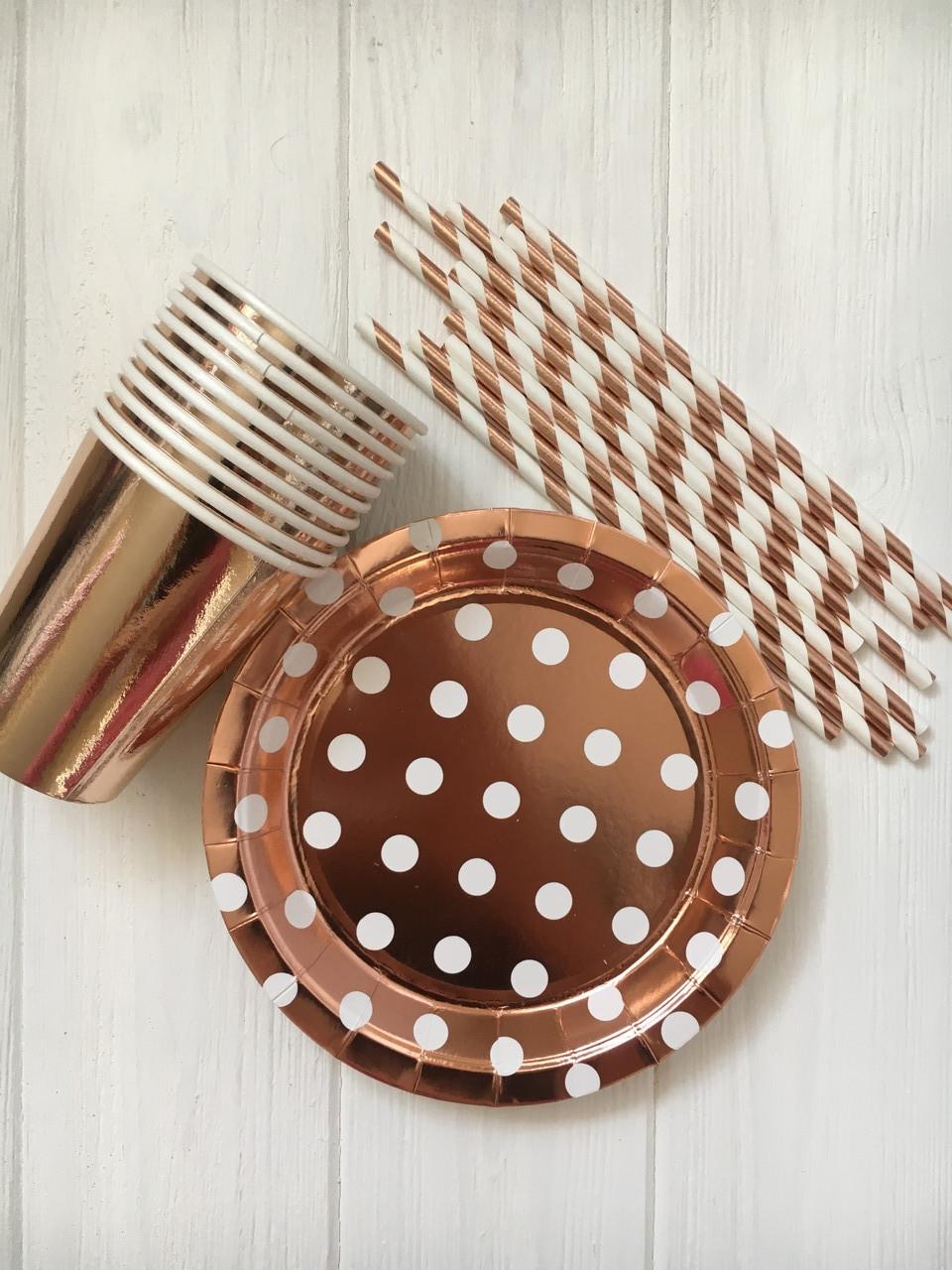 """Набор бумажной посуды - тарелочки, стаканчики и трубочки """"Pink Gold"""" (на 10 персон)"""