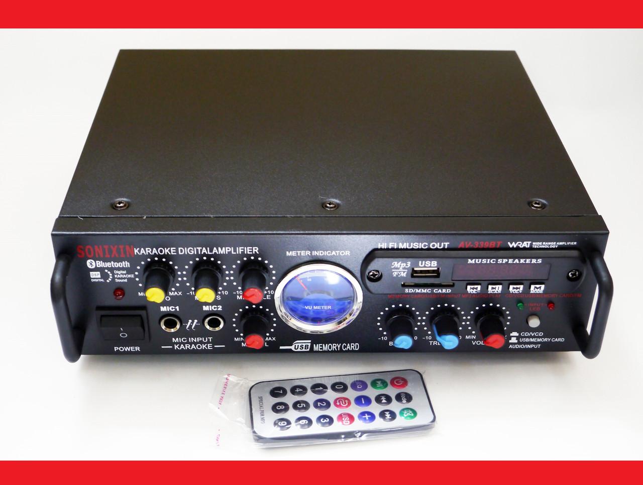 Усилитель звука Sonixin AV-339BT + USB + Fm + Mp3 + КАРАОКЕ + Bluetooth