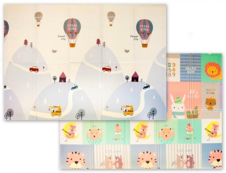 Развивающий детский игровой двусторонний складной термо- коврик (мат) трансформер «Мягкий пол XPE New Eco»