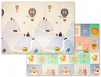 Развивающий детский игровой двусторонний складной термо- коврик (мат) трансформер «Мягкий пол XPE New Eco», фото 1