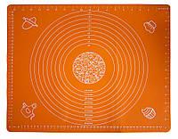 Коврик для выпечки - силиконовый коврик для раскатки теста и запекания в духовке оранжевого цвета, фото 1