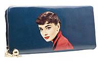 Модный женский кошелек 858A-5 Blue на молнии