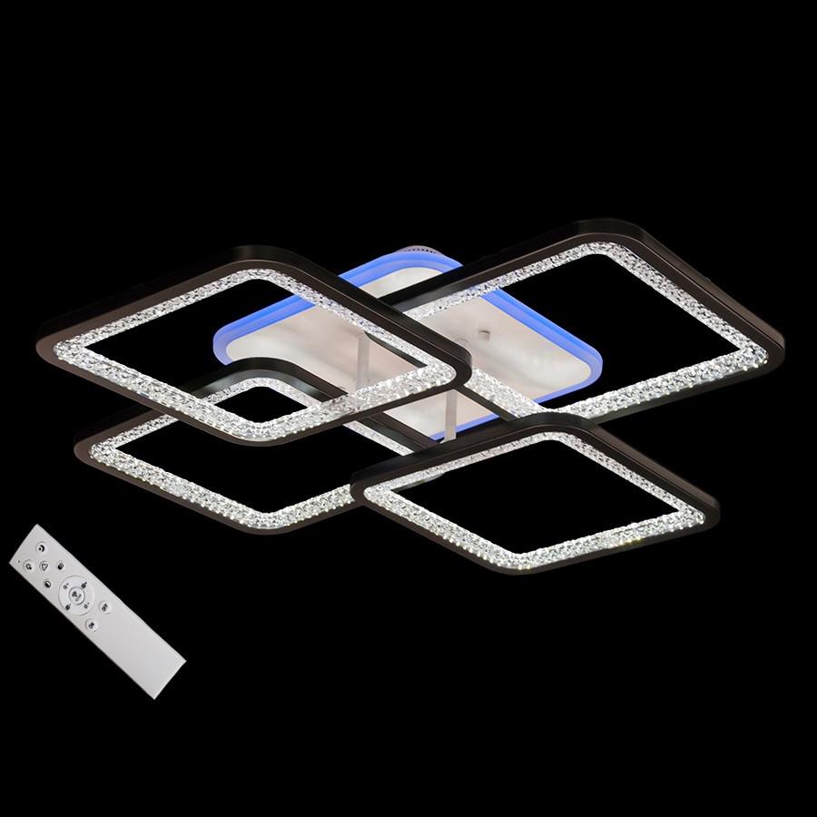 Потолочная LED-люстра квадратная с подсветкой цвет черно белый 100W Diasha&MX2559/4BK LED 3color dimmer