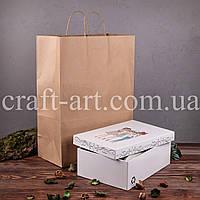 Крафт пакет коричневий 330*160*450 мм, папір 100 г/м2