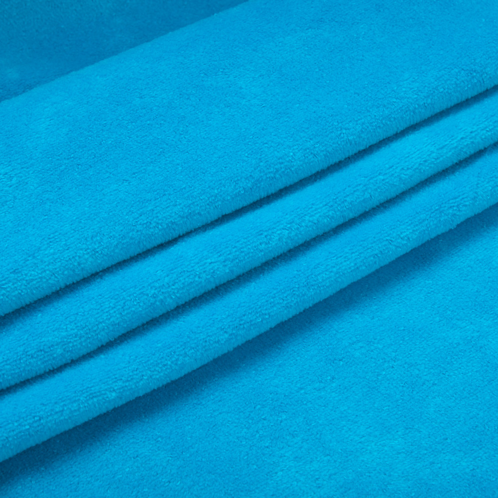 Тканина трикотажна Велюр, Х/Б, 95% на 5%. Спів, колір - Бірюзовий, у наявності, купити в Україні