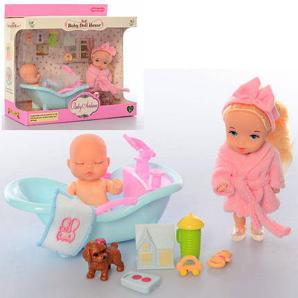 Лялька-пупс з аксесуарами, 10 см, ванна, пляшечка, собачка, A586, фото 2