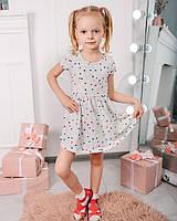 Детское платье для девочки NSP черные звездочки бежевый 58-242