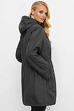 Модный стильный женский плащ для полных серого цвета, фото 2