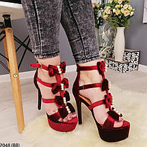 Бордовые босоножки на каблуке, фото 2