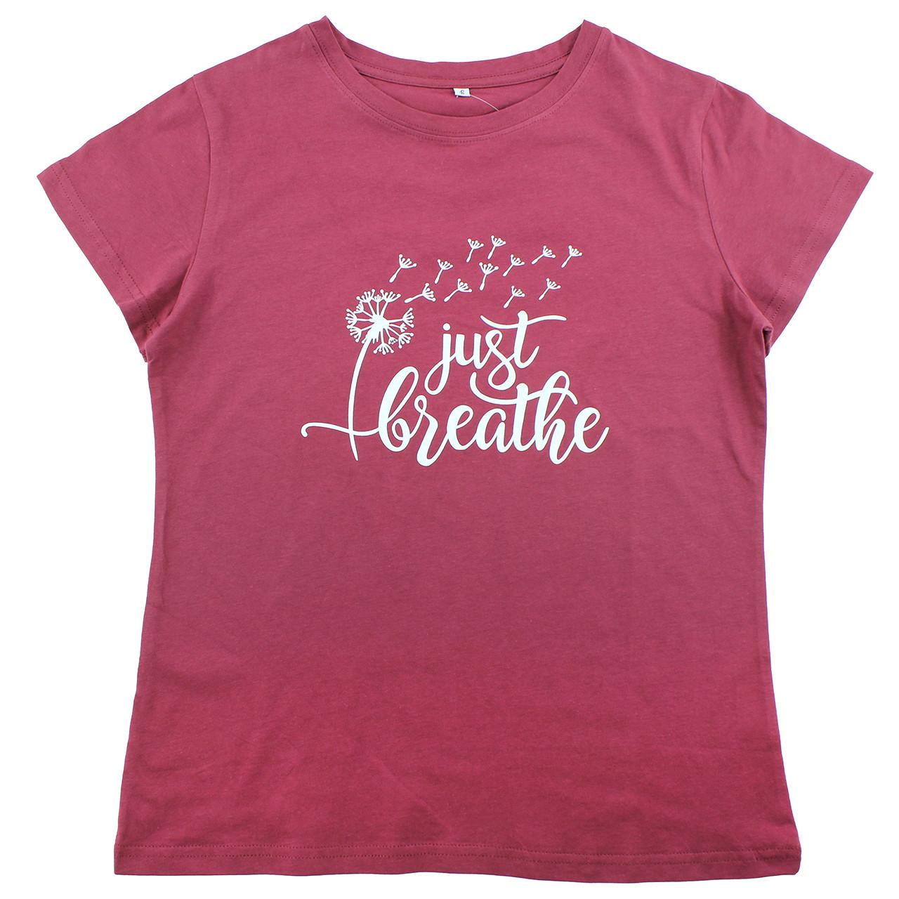 Женская футболка Одуванчик Just Breathe забавная хлопковая футболка для медитации летняя бордовая