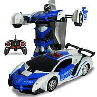 Машинка Трансформер с пультом Lamborghini Police Robot Car Size 18 Синяя