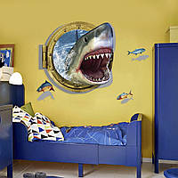 Интерьерная наклейка 3D Акула в иллюминаторе XH4275 90х60см