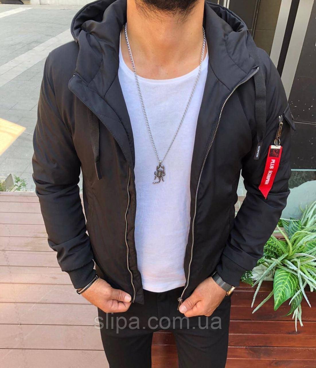 Чоловіча куртка з капюшоном на блискавці чорна