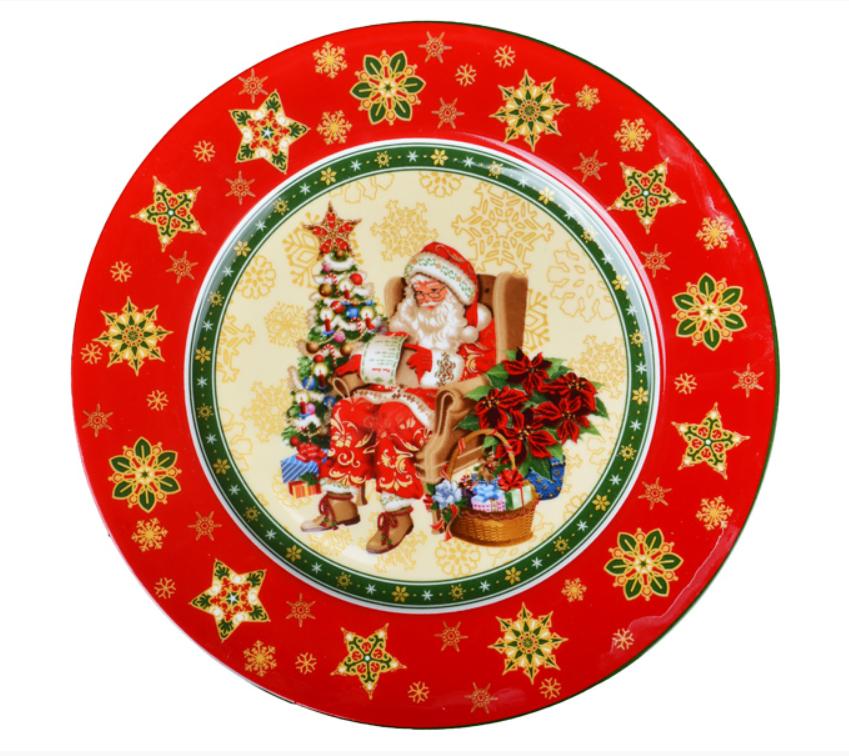 """Новогодняя посуда """"Блюдо фарфоровое круглое """"Санта Клаус """"Cristmas collection"""", 21 см"""