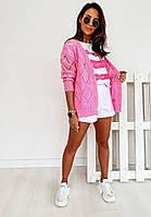 Женский вязанный кардиган идеальный вариант на прохладные вечера  42-46р, розовый, фото 1