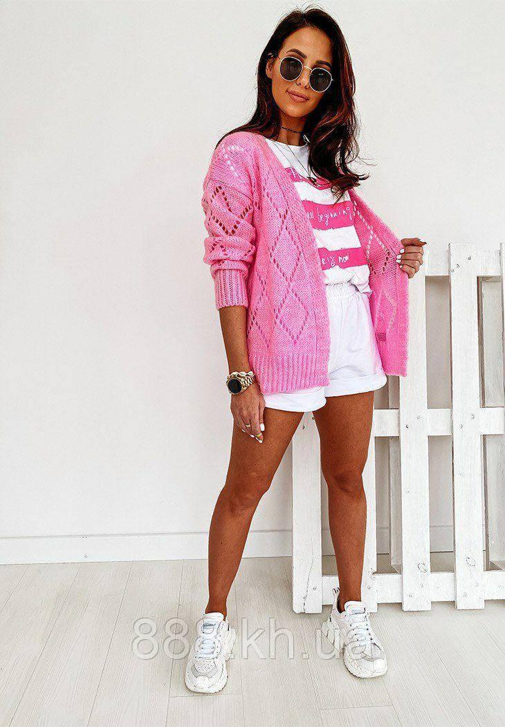 Женский вязанный кардиган идеальный вариант на прохладные вечера  42-46р, розовый