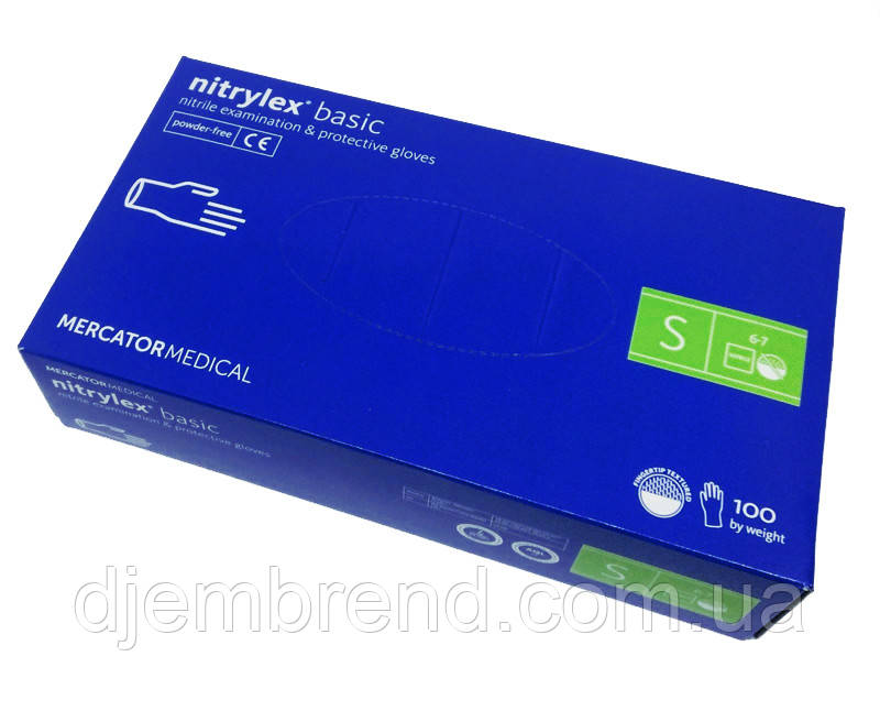 Перчатки Нитрилекс Базик, Рукавички нітрилові, размер S, 100 шт. синие Nitrylex Basic Mercator Medical Poland