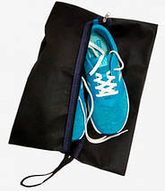 Чехол-сумка Ш 27*Д 38 см, темно-синего цвета для хранения и упаковки обуви, фото 3