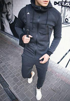 Чоловік спортивний костюм з капюшоном на флісі колір темно-сірий теплий