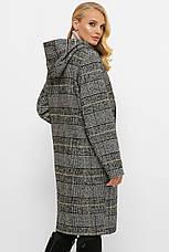Модное шерстяное пальто батал с капюшоном, фото 3