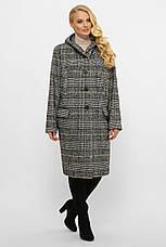 Модное шерстяное пальто батал с капюшоном, фото 2