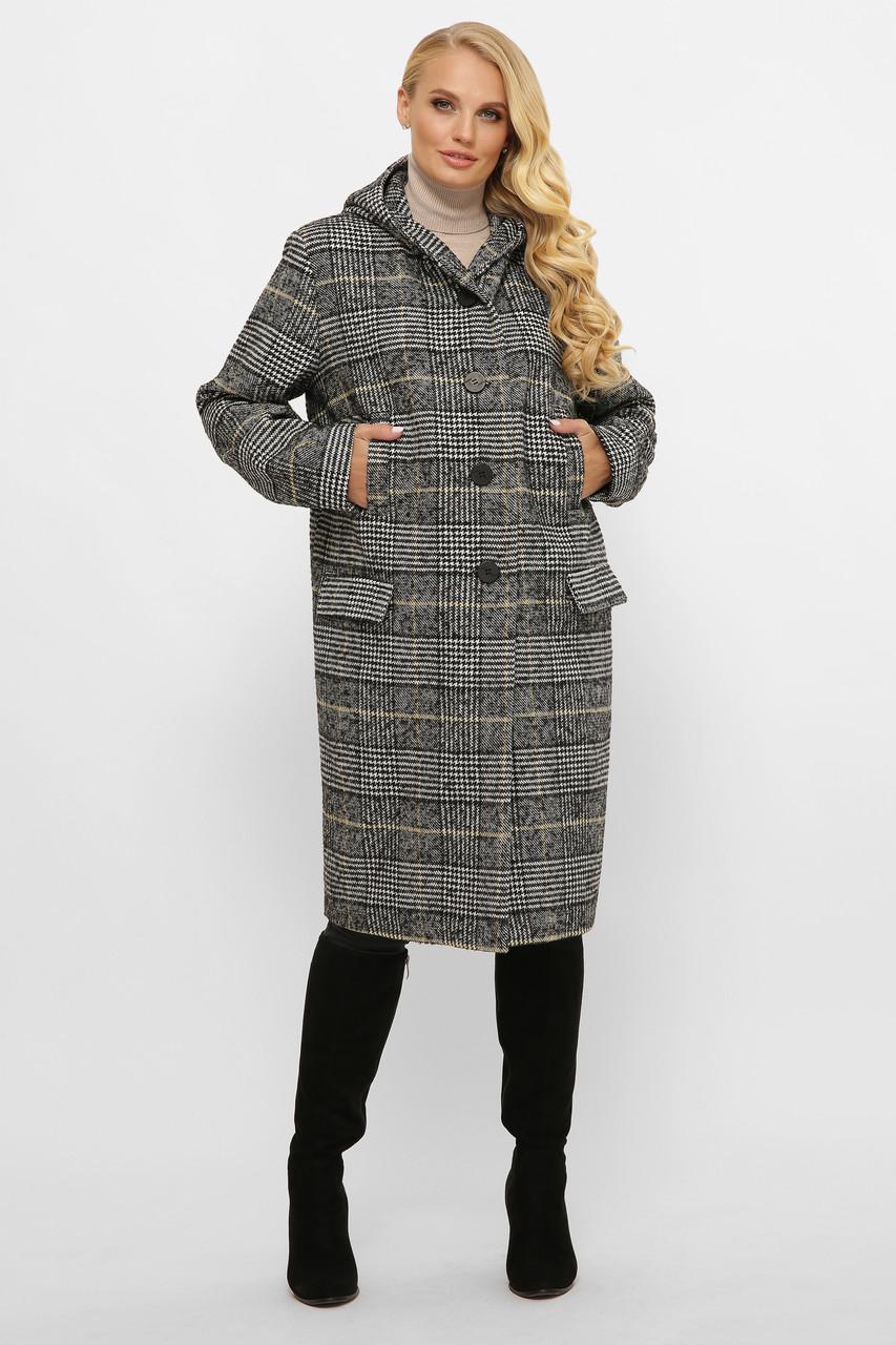 Модное шерстяное пальто батал с капюшоном