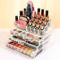 Настольный акриловый органайзер для косметики Cosmetic Storage Box | Бокс органайзер для косметики, фото 3