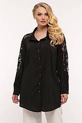 Рубашка женская батал черная с длинным рукавом и гипюром