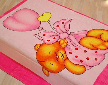 Плед з мікрофібри Ведмедик на кулі рожевий