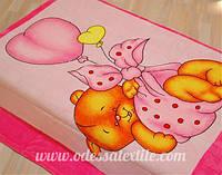 Плед из микрофибры Мишка на шаре розовый
