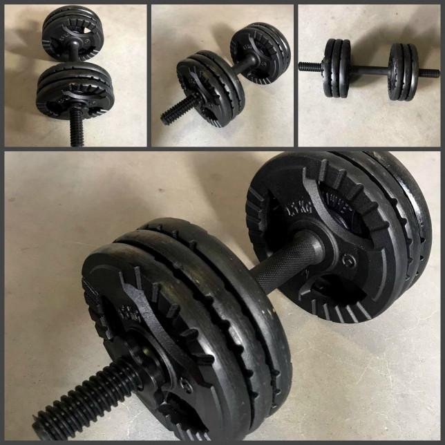Комплект складальних гантель 17 кг чавунні млинці + грифи металопластикові (45см/30мм)