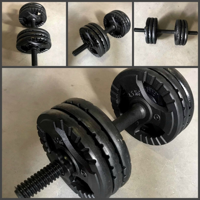 Комплект наборных гантель 37кг чугунные блины + грифы металлопластиковые (45см/30мм)