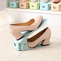 Подвійні підставки для взуття Double Shoe Стійки міні-поличка для взуття для економії місця органайзер білий, фото 2