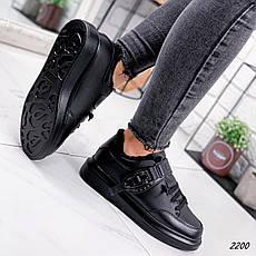 Кроссовки женские черные, зимние из эко кожи. Кросівки жіночі теплі чорні з еко шкіри, фото 3