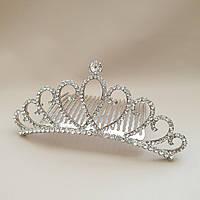Корона - Гребінець для волосся з кришталиками - сріблястого кольору