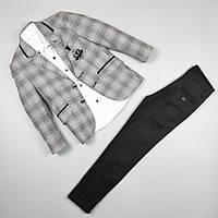 Костюм тройка серый пиджак рубашка узкие брюки оптом для мальчика 6-10 лет Турция 483-03