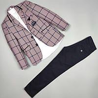 Костюм тройка пиджак рубашка узкие брюки оптом для мальчика 6-10 лет Турция 483-10